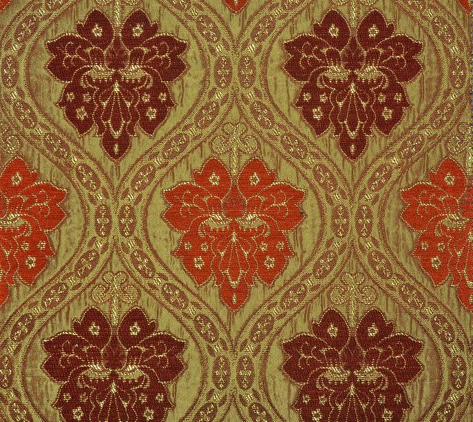 Persia Jacquard Curtain Fabric - Orange and Red - Curtains & Fabx