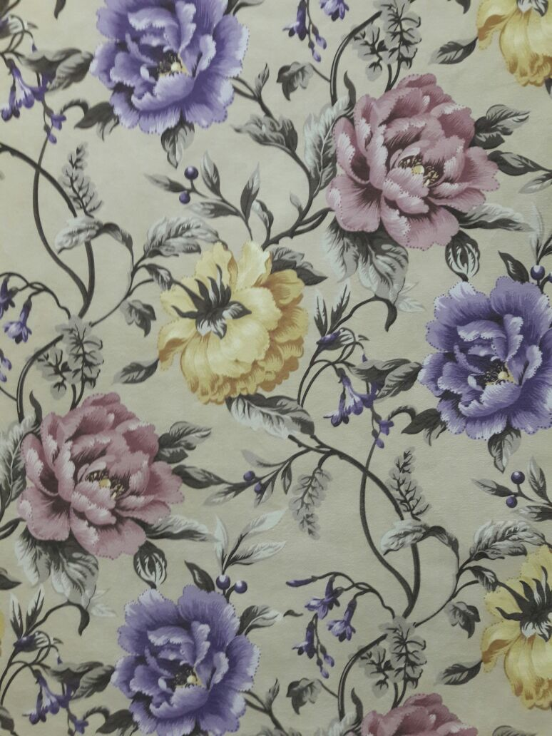 Oasis Floral Print Curtain Material Lilac Yellow
