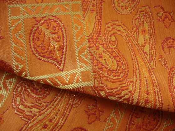 Mughal Paisley Orange Curtain Material Curtains Fabx