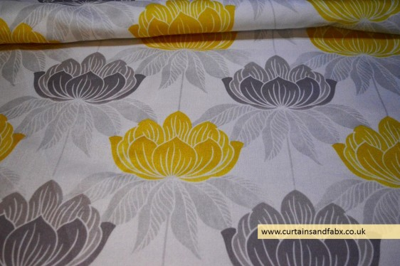 Roma Yellow Floral Curtain Fabric Cotton