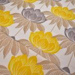 Yellow floral curtain fabric