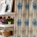 Blue floral curtain fabric