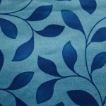 Blue Leaf pattern Curtain Fabric