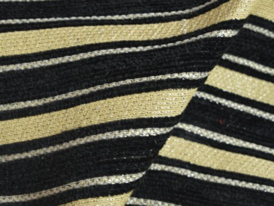 Black Stripes with Gold Curtain Fabric