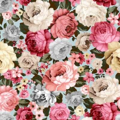 Rose Flower Print Curtain Fabric