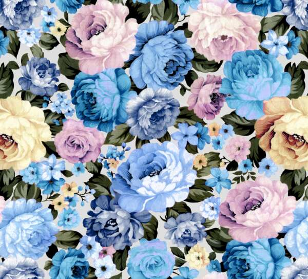 Blue Rose Floral Print Fabric