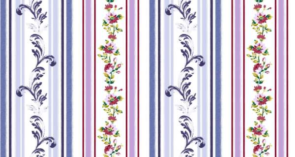 striped floral curtain Fabric