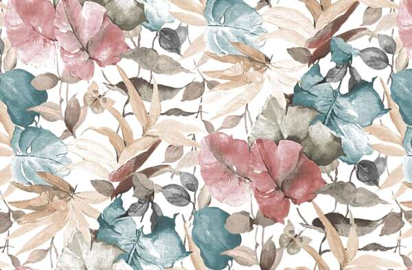 leafy print curtain fabric
