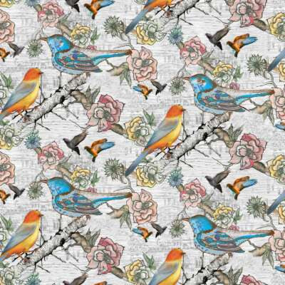 Bird Print Curtain Fabric