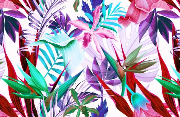 Tropical Palm Leaf Print Fabric