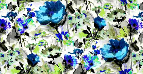 Blue Floral pattern Curtain Fabric
