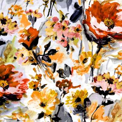 Floral Oil Paint Print Curtain Fabric