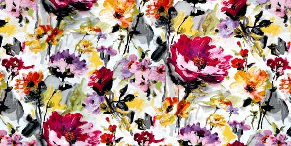 Red floral Curtain Fabric