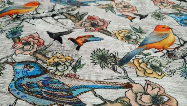 Bird Print Curtain Fabric