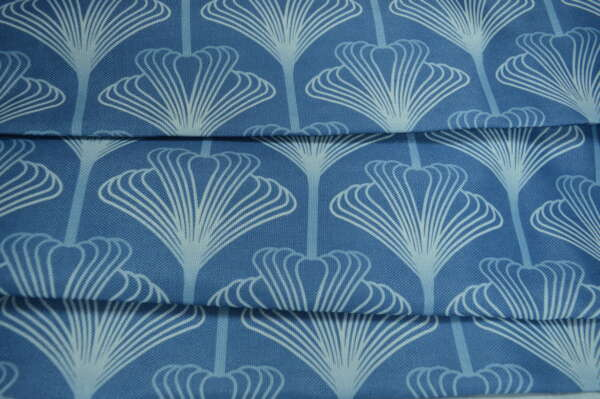 Blue art deco curtain fabric
