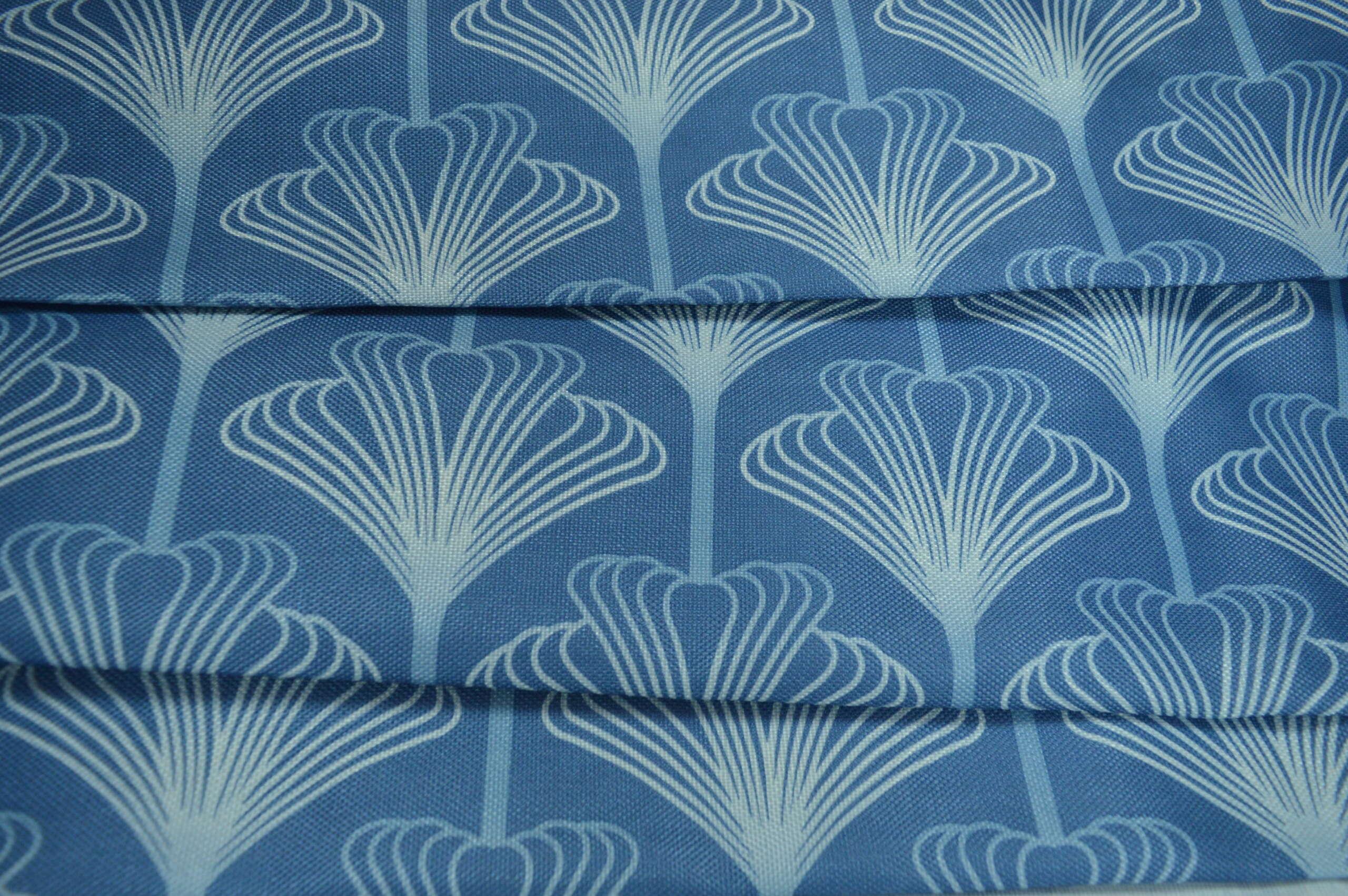 Blue Art Deco Curtain Fabric Printed Fabric Curtains Fabx