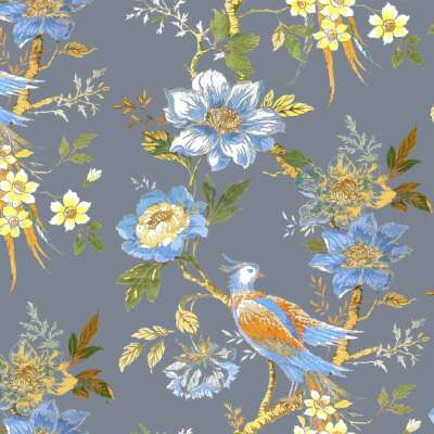 Pheasant curtain fabric